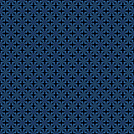 Abstract blue vector ornamental seamless pattern on black