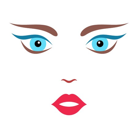 brows: Beautiful cartoon colorful woman face vector illustration Illustration