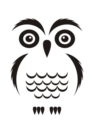 solitude: Black vector cartoon simple owl icon on white