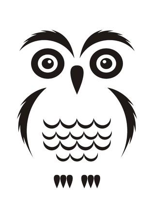 Black vector cartoon simple owl icon on white