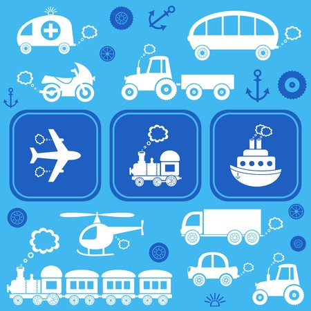 Blue card with white means of transport icons Vector