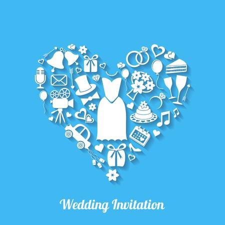Blue vector invitation card with wedding design elements Vector