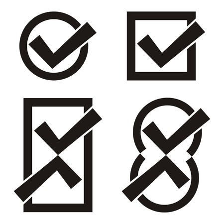 Set of four black vector tick icons Vector