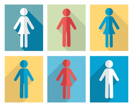 Set of man and woman flat design icons Vector