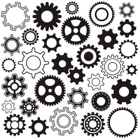 Various gear wheel collection black vector silhouette Ilustracja