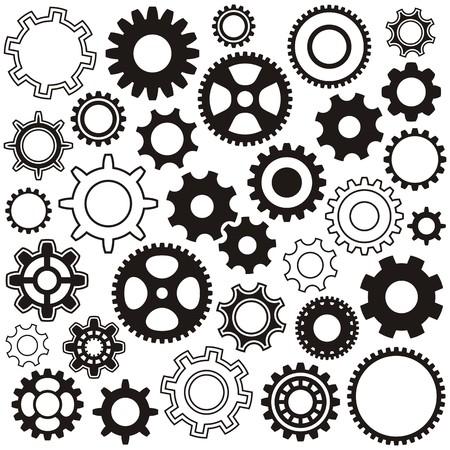 revolve: Various gear wheel collection black vector silhouette Illustration