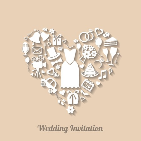 Beautiful vector invitation card with wedding design elements Vector