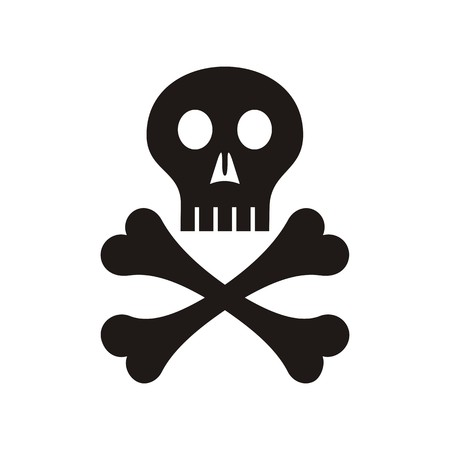 Black vector skull with crossed bones symbol isolated