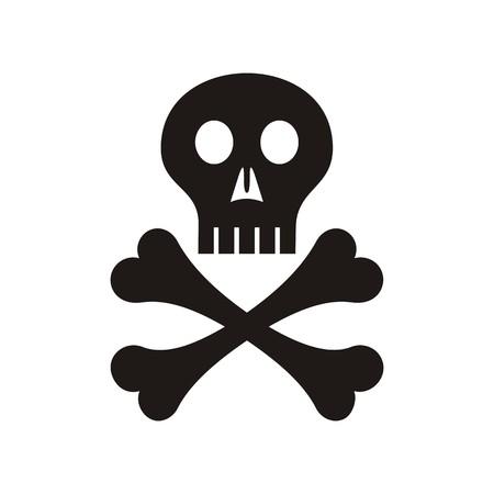 skull and crossed bones: Vector cr�neo negro con los huesos cruzados s�mbolo aislado
