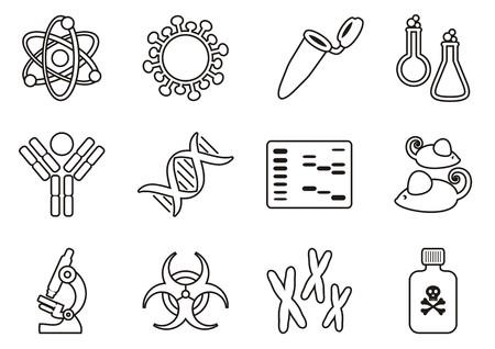 biologia molecular: Delgada l�nea biolog�a molecular icono de la ciencia moderna colecci�n