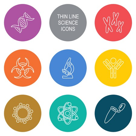 Vector modern circle thin line biology science icons Illustration