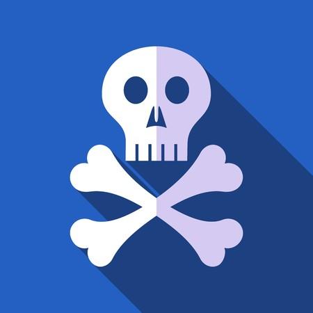 etiquete: White vector skull with crossed bones flat design