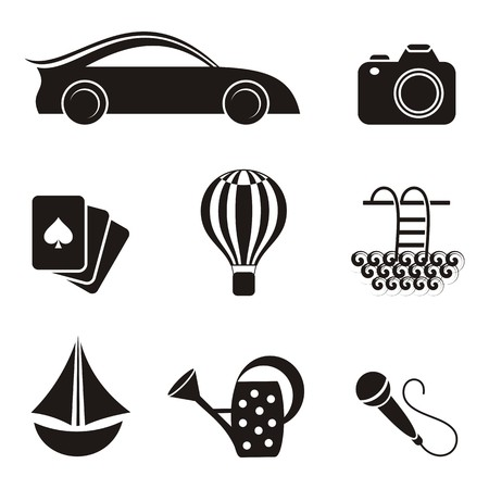 family discussion: Black hobby and leisure icons on white background