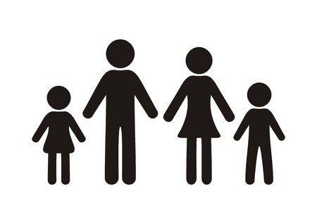 black family: Black vector silhouette family icon on white background