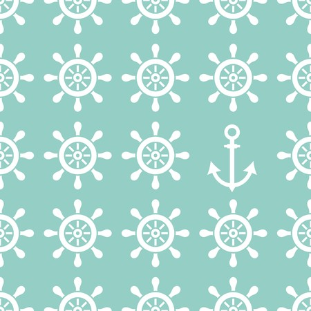Seamless nautical pattern made of helms and anchor Vector