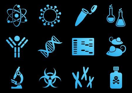 biologia molecular: Conjunto de doce iconos de la ciencia modernas de biolog�a molecular Vectores