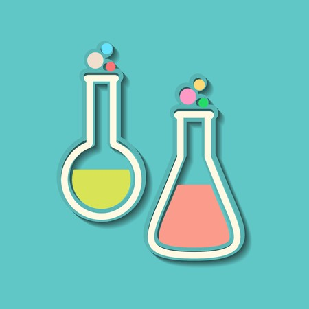 Two retro colorful test tubes on blue background Vector