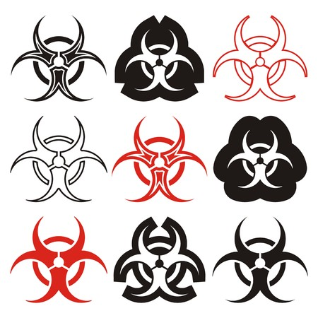 Various vector biohazard symbols collection black and red