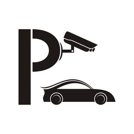 Black symbol of guarded parking with security camera Vector