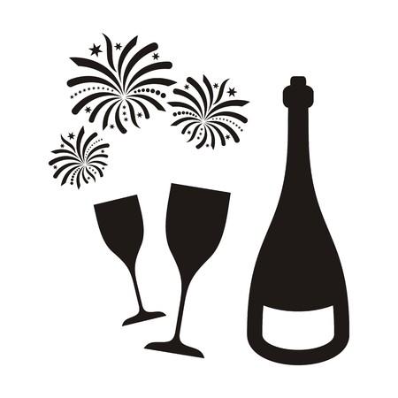 Zwarte vector nieuwe jaar vuurwerk en champagne geïsoleerde