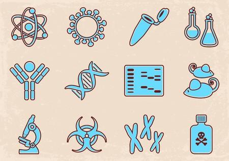 biologia molecular: Conjunto de doce iconos de la ciencia de la biolog�a molecular de la vendimia
