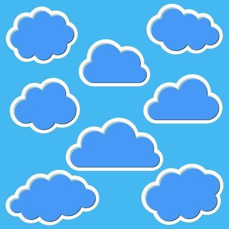 blue clouds: Set of various blue clouds on blue background