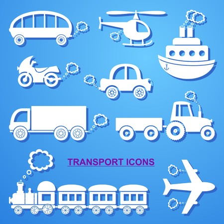 puffing: White means of transport icons on blue background Illustration