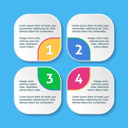 White progress squares for four steps and description Vector