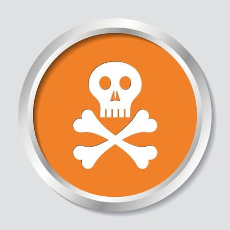 skull and crossed bones: Blanco cr�neo con los huesos cruzados en el bot�n naranja