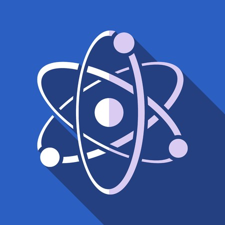 microcosm: White vector atom icon on blue flat design Illustration