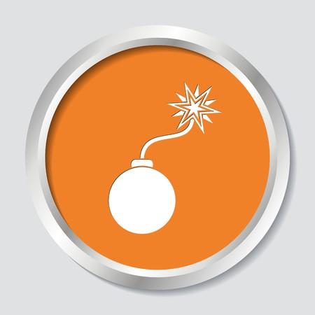 White vector bomb symbol on orange button Illustration