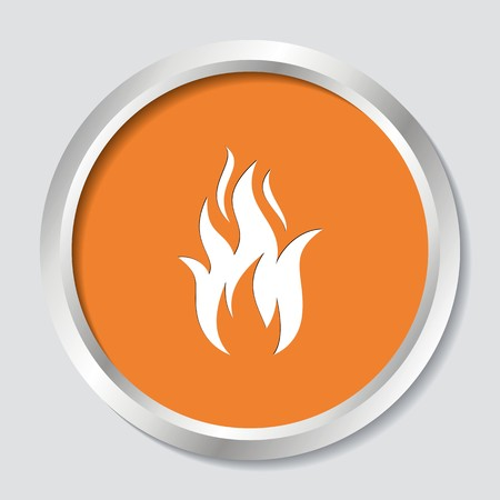 White vector fire warning sign on orange button