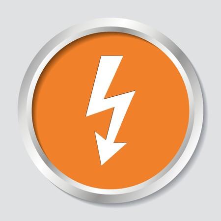 White vector high voltage symbol on orange button Illustration