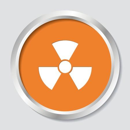radiactividad: Vector Blanco radiactividad signo en el bot�n naranja
