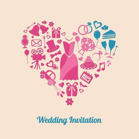 Colorful vector invitation card with wedding design elements Vector