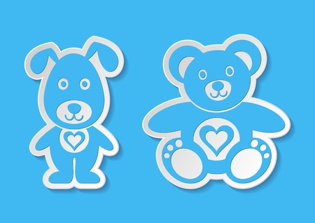 Lovely blue vector teddy bear and dog labels
