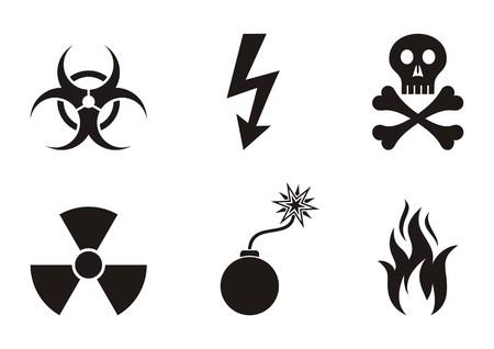 Set of black vector warning symbols icons isolated