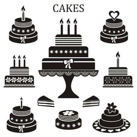 블랙 생일 및 결혼 케이크 벡터 실루엣 컬렉션