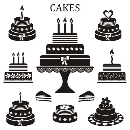 Black birthday and wedding cakes vector silhouette collection Illustration