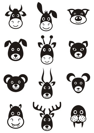 Set of cute black vector cartoon animal faces Vector