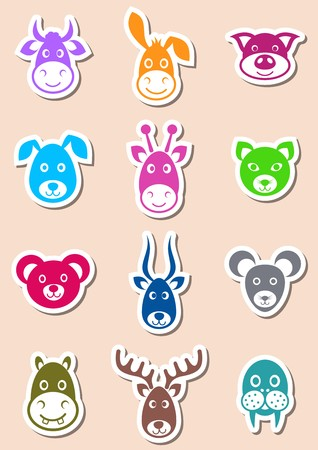 Set of cute colorful labels with animal faces Illustration