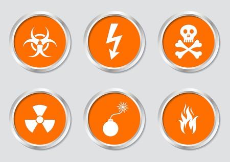 riesgo biologico: Conjunto de símbolos de advertencia blancos en los botones de color naranja Vectores