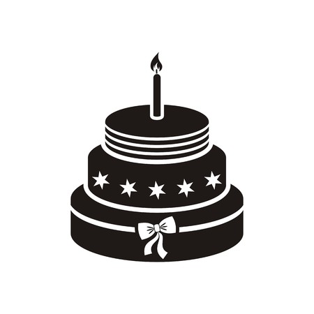 Black vector birthday cake with one candle isolated