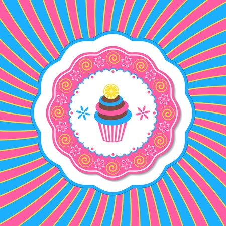 buttercream: Vintage card with cupcake with lemon vector illustration