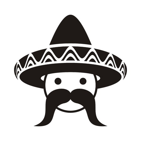 Black man face with sombrero and large moustache Vector