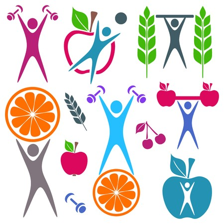 Colorful healthy food and fitness icons on white