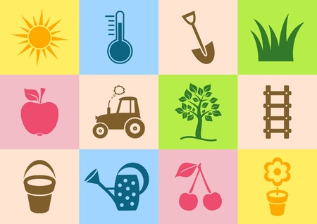Colorful garden icons collection on white background Vector