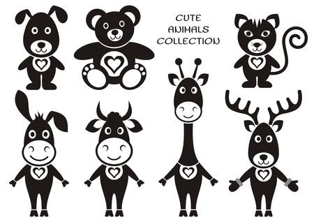 Seven cute black cartoon animals with hearts on white Vector