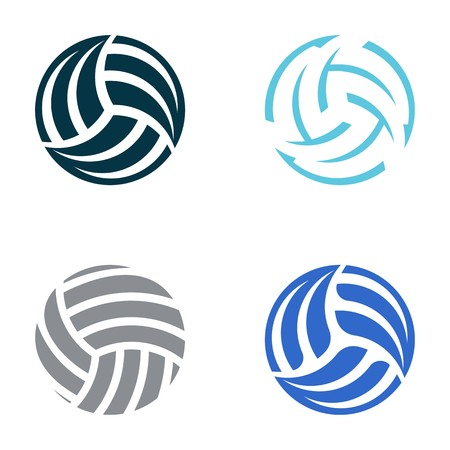 Set of four volleyball ball abstract icons