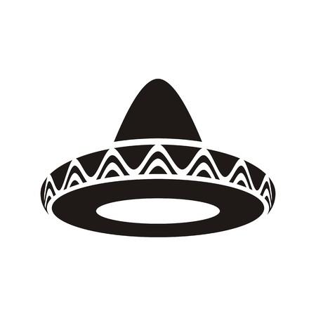 고립 된 검은 벡터 멕시코 모자 솜브레로 아이콘